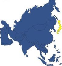 日本地?_手绘亚洲地图上的日本地图