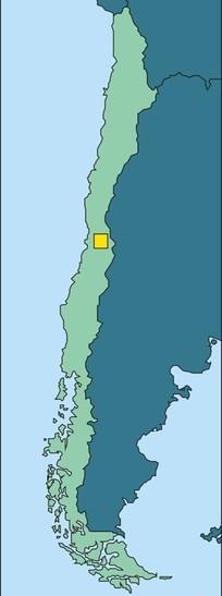 手绘智利地图上的首都圣地亚哥