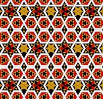 白六边形六角形内的六角星菱形三角构成的背景