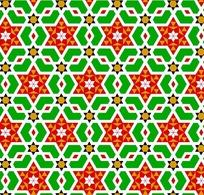红六角形内白六瓣花和橙六边黑三角构成的背景