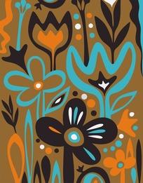 手绘可爱的花朵背景