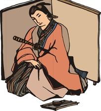 手绘坐着的日本东洋武士