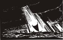 暴雨汪洋中的小船