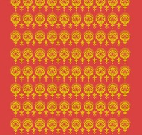 红色背景上的黄色重复图案