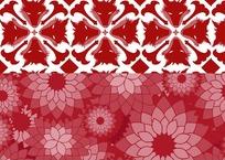 红色的花朵狼头图案