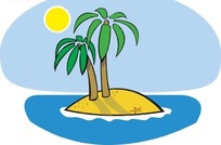 卡通手绘椰子树矢量图