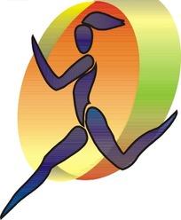手绘彩带女体操体育标志