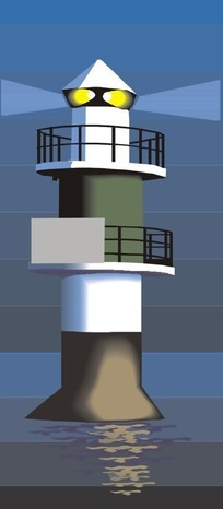 手绘夜空海岸上灯塔