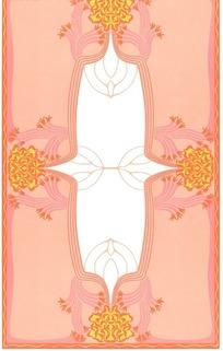 粉红色波纹边框和四个火纹花团构成的图片