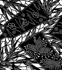 花枝纹叶纹竹叶纹竹板扇纹构成的雕刻黑白图案