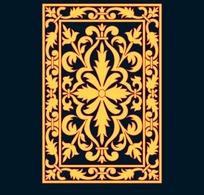 黑底卷草纹齿边十字花团构成的黄色框图图案