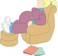 躺在沙发睡觉的妇女