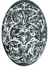 藤蔓卷曲缠枝纹欧洲神话人物飞鸟纹雕纹椭圆图