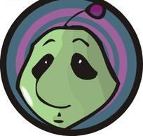 卡通绿色外星人头像矢量图