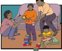 父母陪子女玩积木