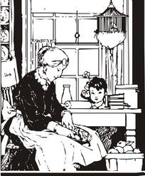 妈妈辅导女儿写作业