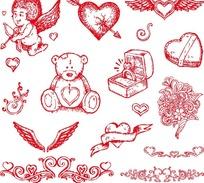 可爱的红色卡通图案