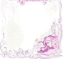 花纹和美女头部构成的边框