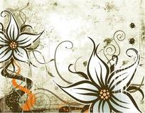 精美花朵卷草底纹