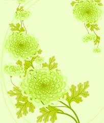 淡绿色背景上的绿色菊花矢量图案