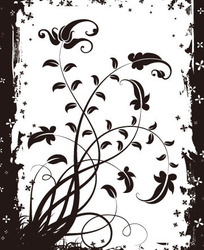 黑色边框里的黑色植物矢量图