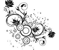 黑色枝条上的花朵和同心圆矢量图