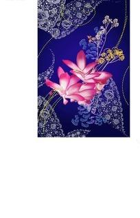 蓝色背景上的蕾丝花纹与洋红色手绘花朵