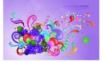 精美葡萄和彩色卷草