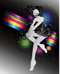闪亮彩虹上短裙女性身影