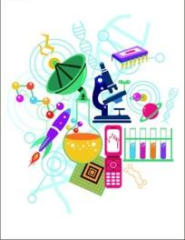 手绘缤纷的卡通科学电子用品