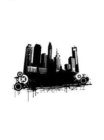 黑色高楼大厦剪影