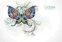 精美的花蝴蝶与花纹图案