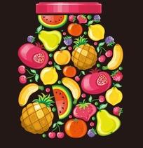 手绘水果构成的瓶子形状