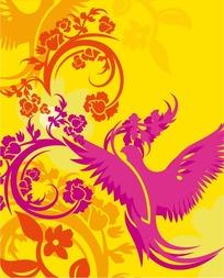 手绘弯曲的花枝和凤凰