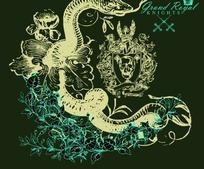 花丛里的蛇和骷髅头牌子