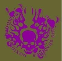灰绿色背景上紫色绚丽骷颅头花纹