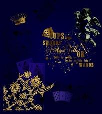蓝色背景上的金色花纹与天使CDR矢量文件