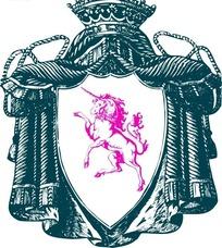 矢量粉色独角兽盾牌徽章图案