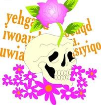 精美粉色花朵和骷颅头