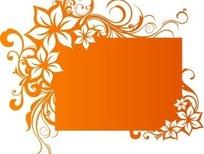 精致橙色花朵花纹卷藤镶边的橙色长方形