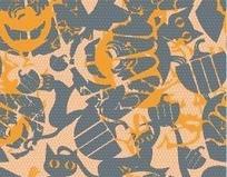 交叠缤纷猫咪图案