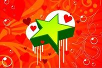橘红色背景上的水泡和五角星矢量图