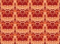 暗红色心形花纹连续平铺图案