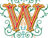 古典叶蔓花纹上的立体字母W
