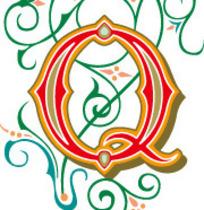 古典叶蔓花纹上的优雅字母Q