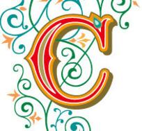 卷曲藤蔓花纹装饰的字母C