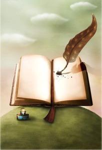 绿色地球上书本写字的羽毛笔分层素材