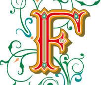 欧式古典绿色花纹塑胶英文字母F