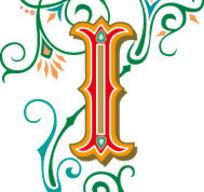 欧式绿色古典花纹背景上的英文字母I