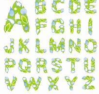 清新个性绿叶花朵字体设计